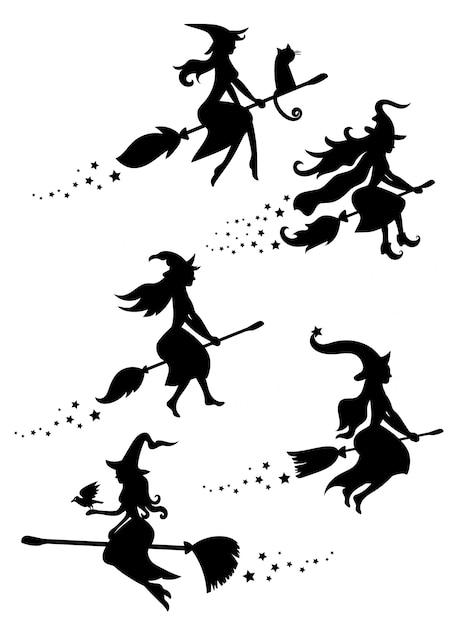 Ensemble De Silhouettes Noires De Sorcières Volant Sur Un Manche à Balai. Collection De Silhouettes Pour Halloween. Illustration Mystique. Contour D'une Sorcière. Vecteur Premium