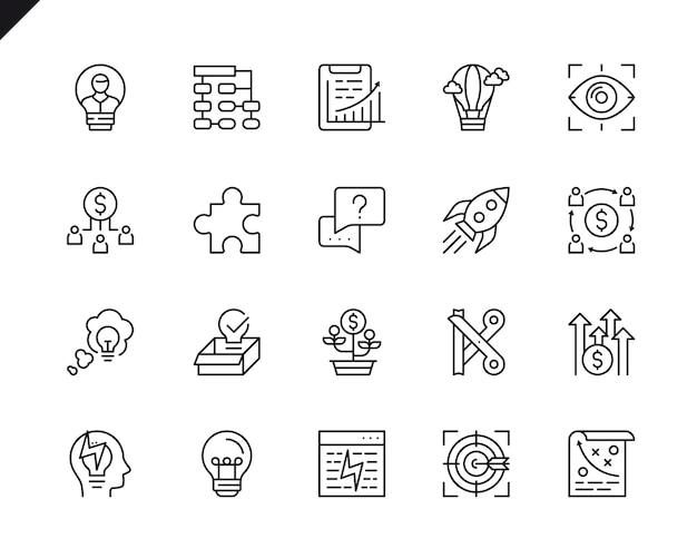 Ensemble simple de démarrage d'entreprise connexes icônes de ligne de vecteur. Vecteur Premium