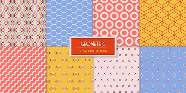 Ensemble simple de huit motifs géométriques sans soudure Vecteur Premium