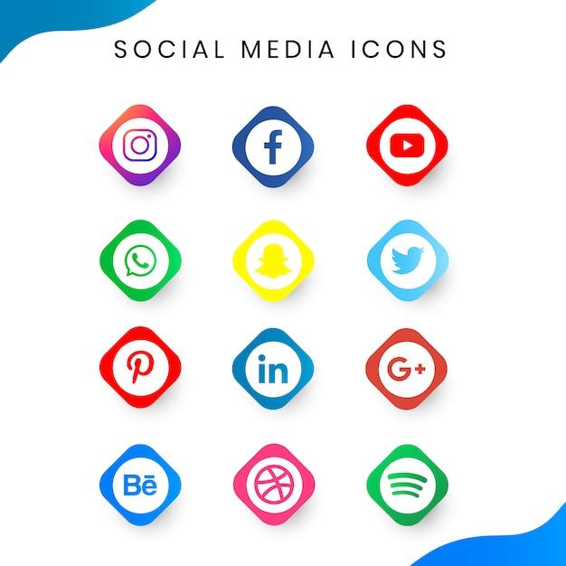 Ensemble simple d'icône de médias sociaux Vecteur Premium