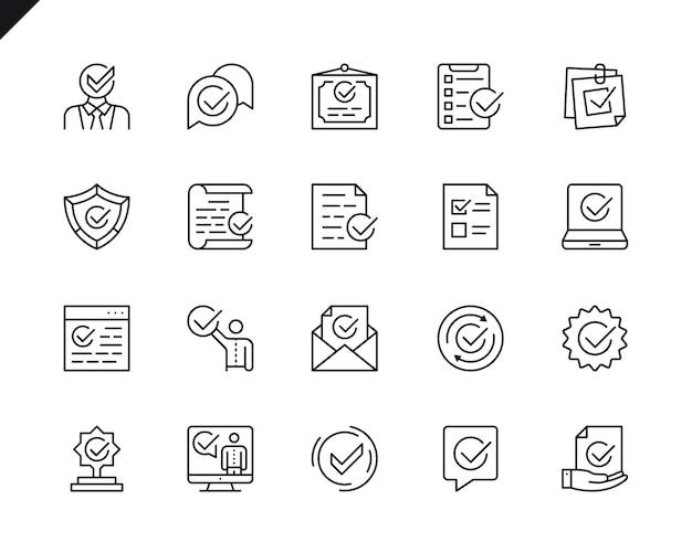 Ensemble simple d'icônes de lignes vectorielles associées approuvées. Vecteur Premium