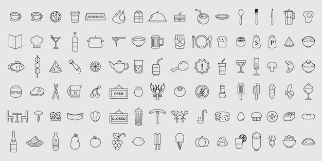 Ensemble Simple D'icônes De Restaurant Et De Nourriture Fine Ligne Vectorielles Vecteur Premium