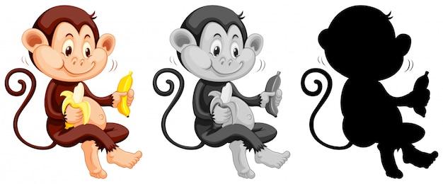Ensemble de singe mangeant une banane Vecteur gratuit