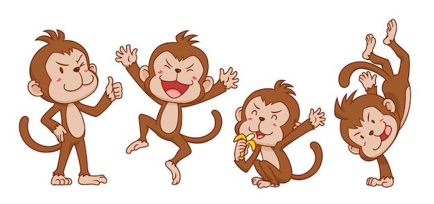 Ensemble de singes de dessin animé mignon dans des poses différentes. Vecteur Premium