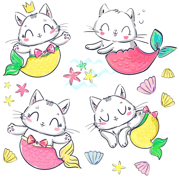 Ensemble de sirène et coquille de chaton dessinés à la main. chat mignon fantastique. Vecteur Premium