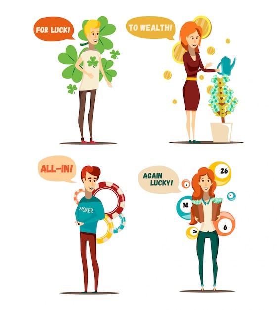 Ensemble de situations chanceuses de quatre personnages humains plats isolés et éléments conceptuels de poker loterie argent arbre vector illustration Vecteur gratuit