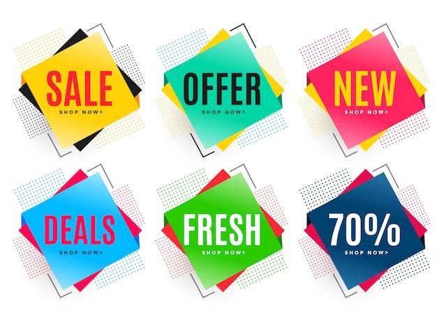 Ensemble de six autocollants de vente abstraite Vecteur gratuit