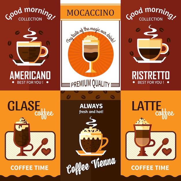 Ensemble de six bannières de café Vecteur gratuit