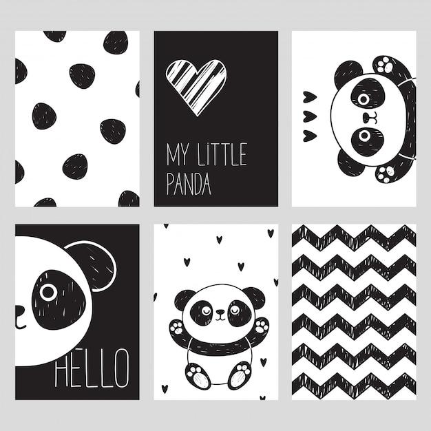 Un ensemble de six cartes noires et blanches avec un panda mignon. mon petit panda. bonjour. style scandinave. Vecteur Premium