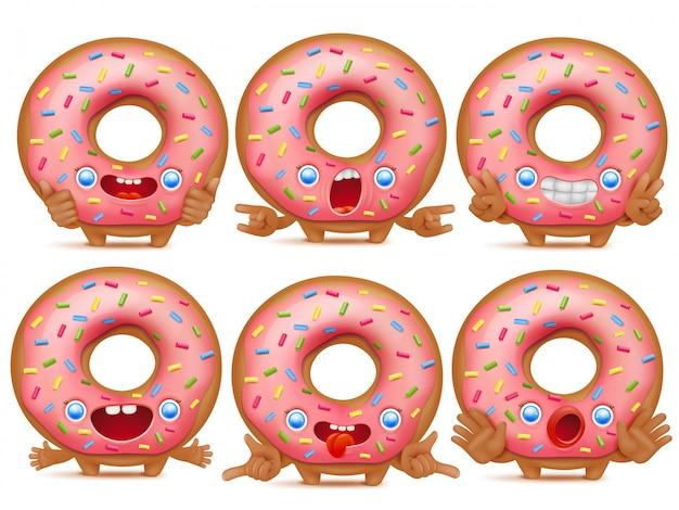 Ensemble de six personnages de beignet émoticône dessin animé. Vecteur Premium