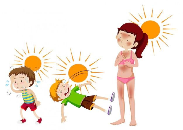Un Ensemble De Soleil Et De Chaleur Vecteur gratuit