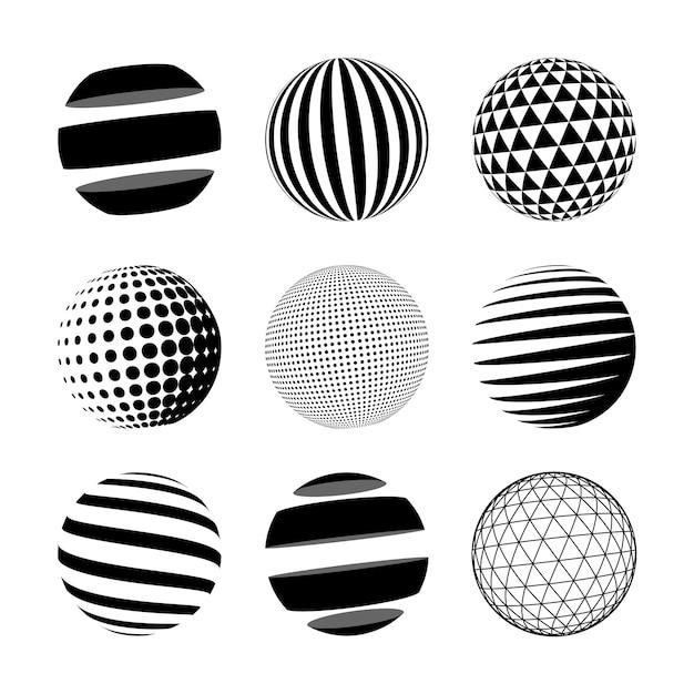 Ensemble de sphère abstraite noire Vecteur Premium