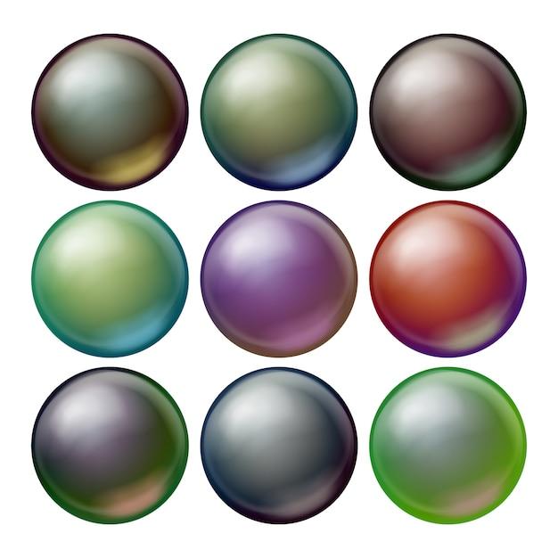 Ensemble de sphère noire. Vecteur Premium