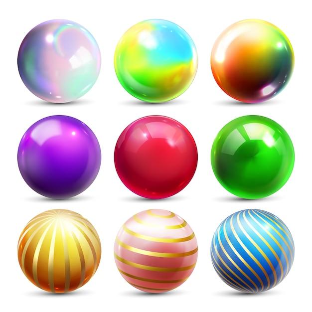 Ensemble de sphères brillantes Vecteur Premium