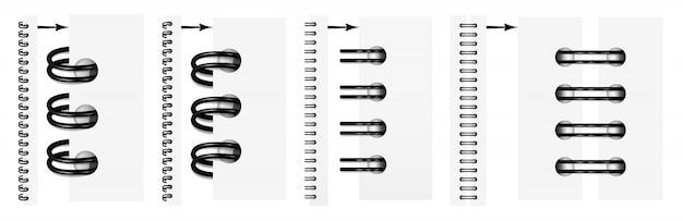Ensemble de spirales noires réalistes pour un cahier. Vecteur Premium