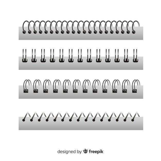 Ensemble de spirales pour cahiers style réaliste Vecteur gratuit