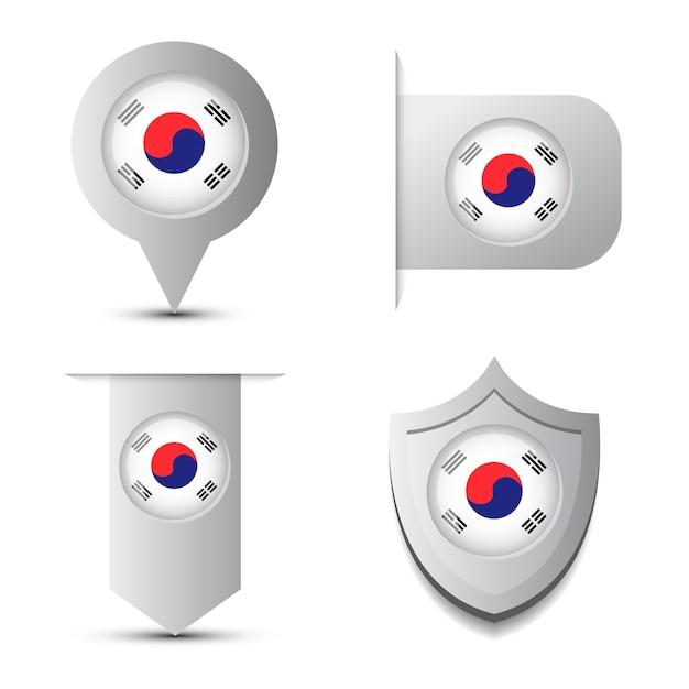 Ensemble de stikers andmap pointer avec drapeau de la corée du sud et shadow isolé Vecteur Premium