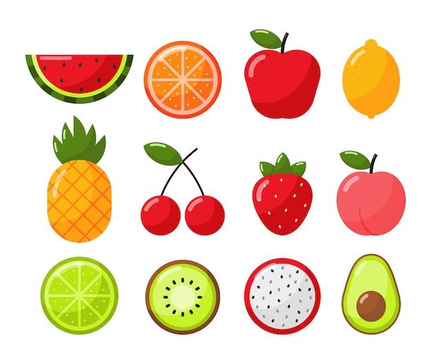 Ensemble De Style De Dessin Animé De Fruits Tropicaux Isoler Sur Blanc Vecteur Premium