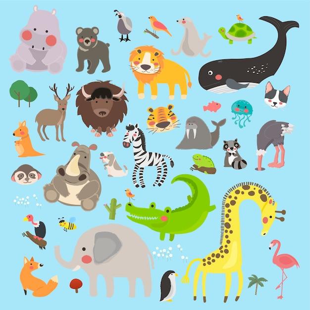 Ensemble de style dessin illustration de la faune Vecteur gratuit