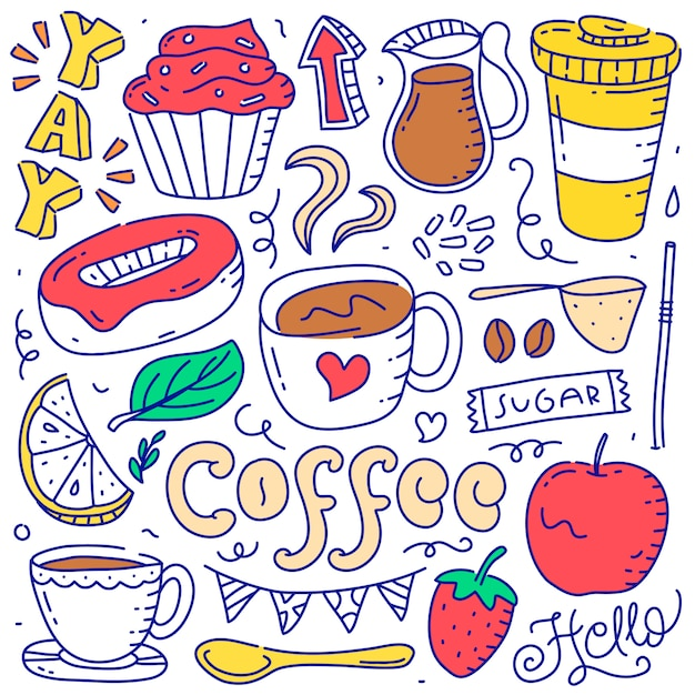 Ensemble de style dessiné à la main élément objet doodle café Vecteur Premium