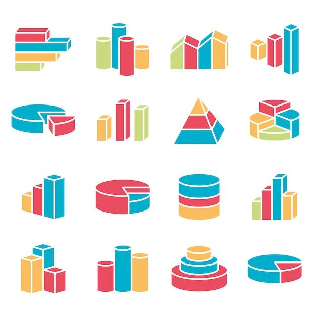 Ensemble de style de ligne des icônes financières. barres, graphique, graphique, infographie, éléments de diagramme. Vecteur Premium