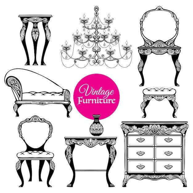 Ensemble de style de meubles vintage dessinés à la main Vecteur gratuit