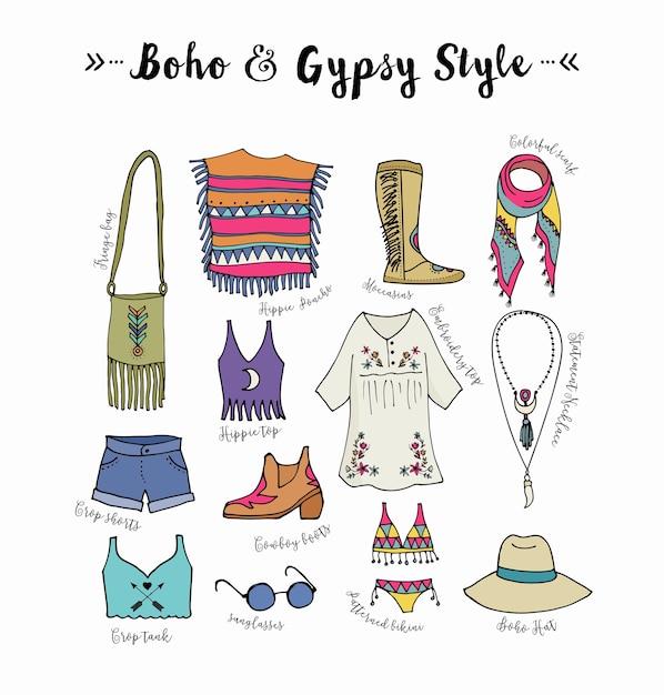 Ensemble De Style De Mode Bohème, Boho Et Hippie, Illustration De Vêtements Gitans Vecteur Premium