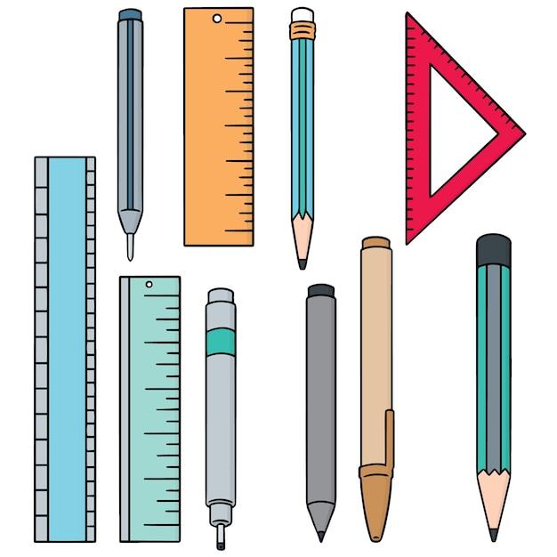 Ensemble de stylo, crayon et règle Vecteur Premium