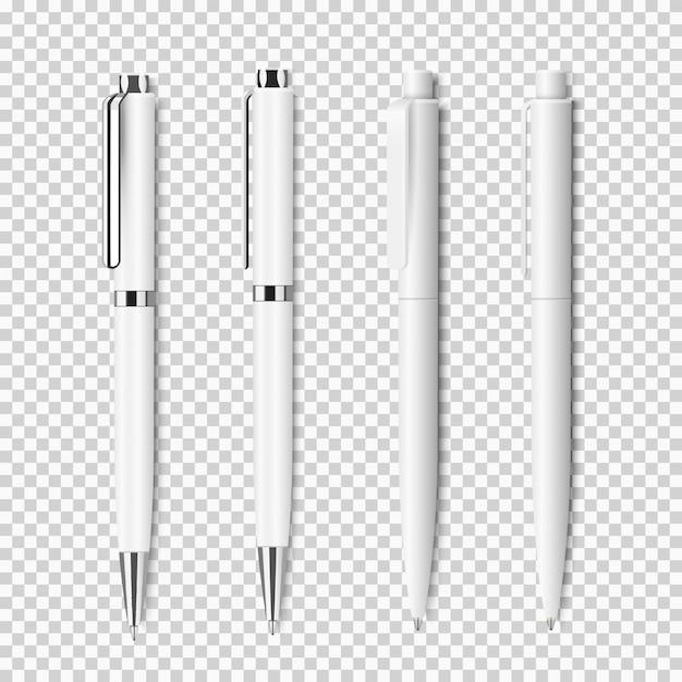 Ensemble de stylo réaliste blanc sur fond transparent Vecteur Premium