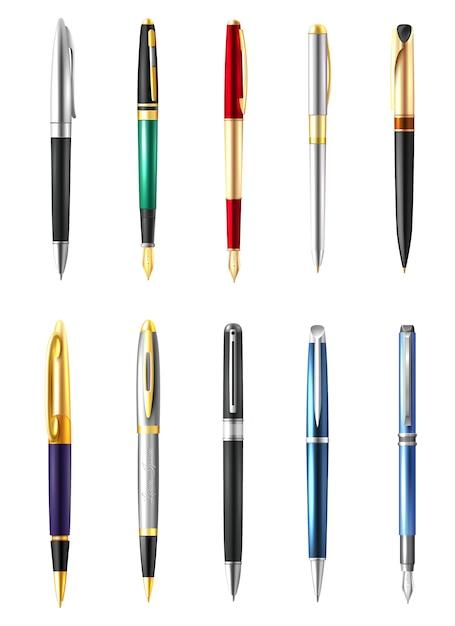 Ensemble de stylos d'affaires réalistes Vecteur gratuit
