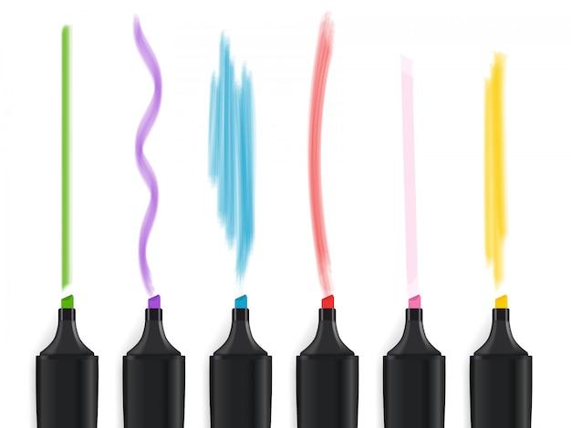 Ensemble de stylos de marqueur de couleur isolé sur fond blanc. illustration vectorielle Vecteur Premium
