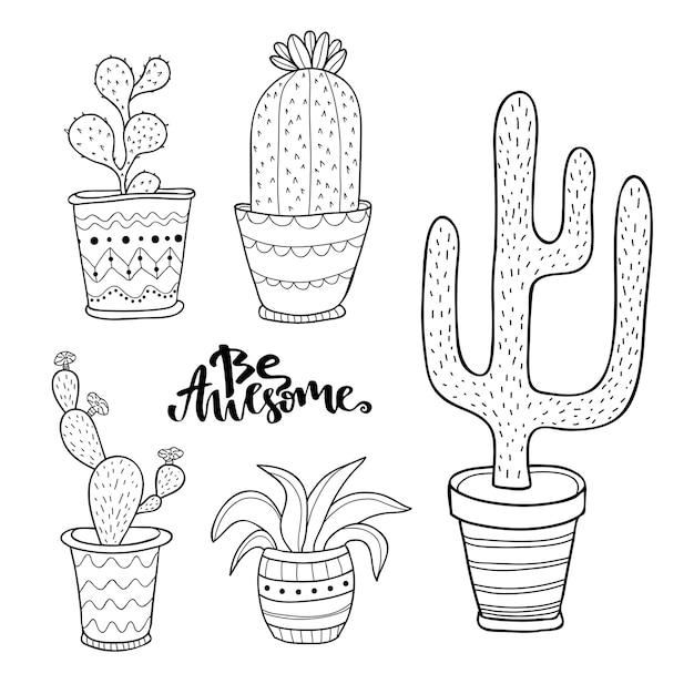 Ensemble De Succulentes Et De Cactus Dessinés à La Main. Doodle Plantes En Pots. Dessin Au Trait Vecteur Sertie De Plantes D'intérieur De Maison Mignon Vecteur Premium