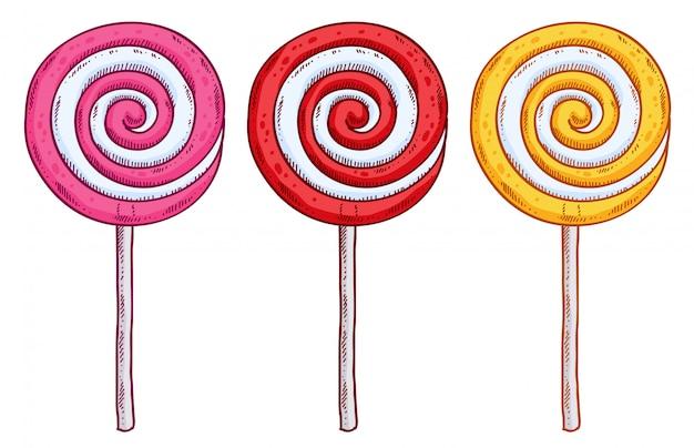Ensemble de sucettes colorées dans un style dessiné à la main. croquis de bonbons en spirale. Vecteur Premium
