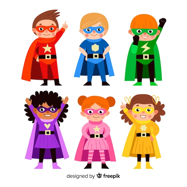 Ensemble de super-héros drôles Vecteur gratuit