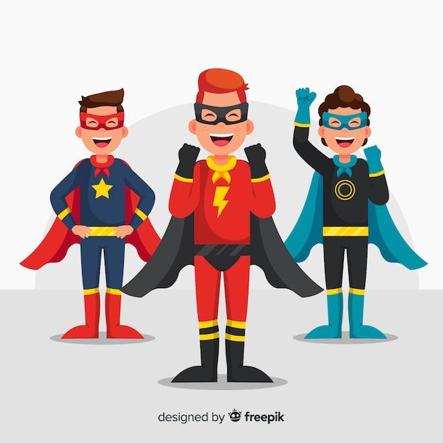 Ensemble de super héros Vecteur gratuit