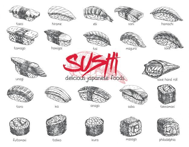 Ensemble De Sushi Dessinés à La Main. Illustration De Croquis De Cuisine Japonaise Pour Menu De Barre De Sushi Rolls, Bannière, Flyer, Carte, Etc. Vecteur Premium