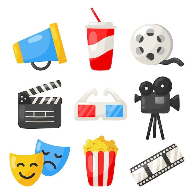 Ensemble De Symboles De Cinéma Icônes Collection Et Symboles Pour Sites Web Isolés Sur Blanc Vecteur Premium