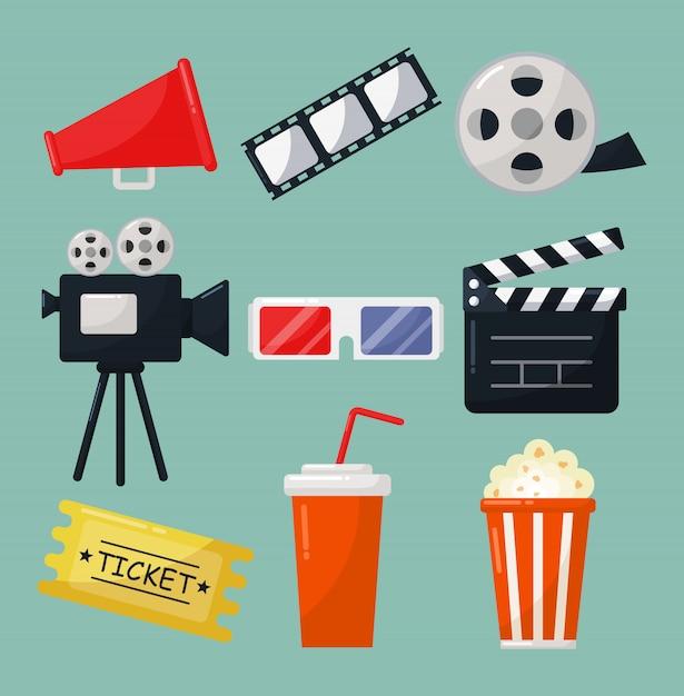 Ensemble De Symboles De Cinéma Icônes Collection Et Symboles Pour Sites Web Isolés Sur Fond Bleu. Vecteur Premium