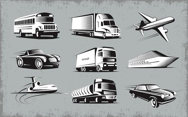 Ensemble De Symboles De Divers Modes De Transport Vecteur gratuit