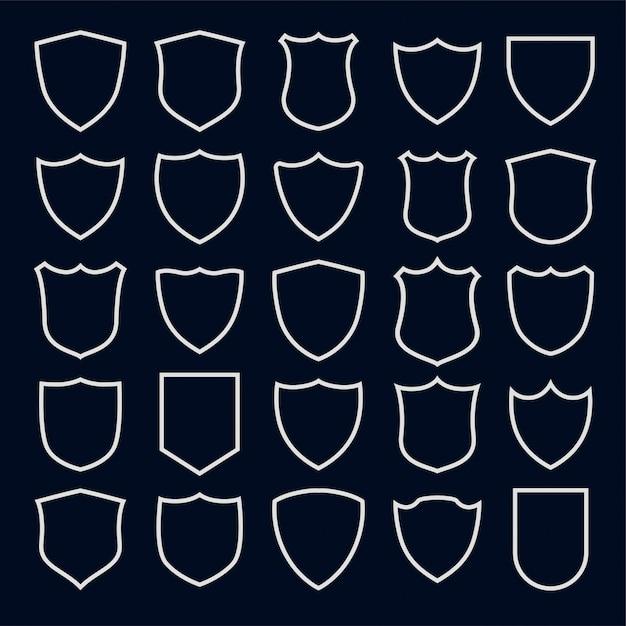 Ensemble De Symboles Et D'icônes De Bouclier De Style De Ligne Vecteur gratuit