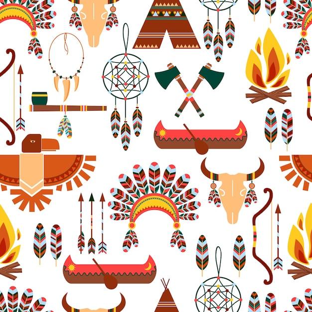 Ensemble De Symboles Indigènes Tribaux Américains De Modèle Sans Couture Utilisés Dans Différentes Conceptions Graphiques Vecteur gratuit