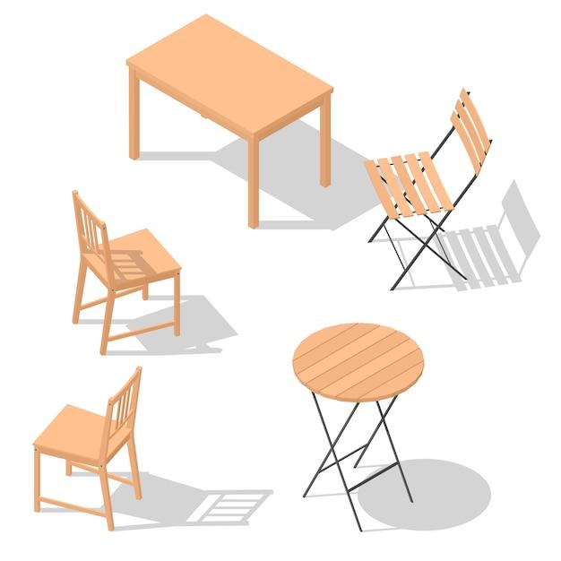 Ensemble de table de chaise Vecteur Premium