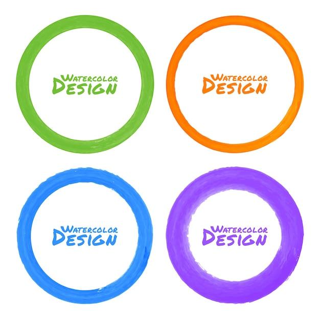 Ensemble De Taches De Cercle Grunge Coloré Aquarelle, Illustration Vecteur Premium