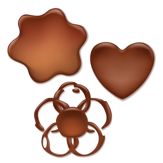 Ensemble De Taches De Chocolat Fondant - Coeur, Vague, Formes De Fleurs. Vecteur Premium