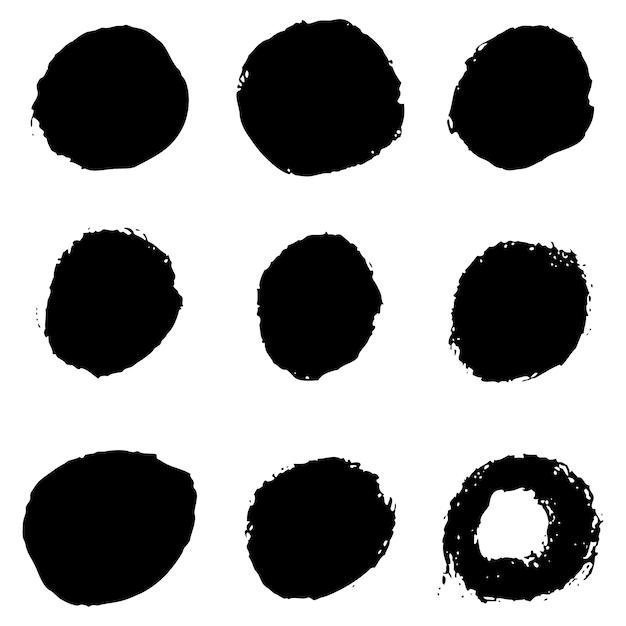 Ensemble De Taches De Grunge Sur Fond Blanc. Illustration Vecteur Premium