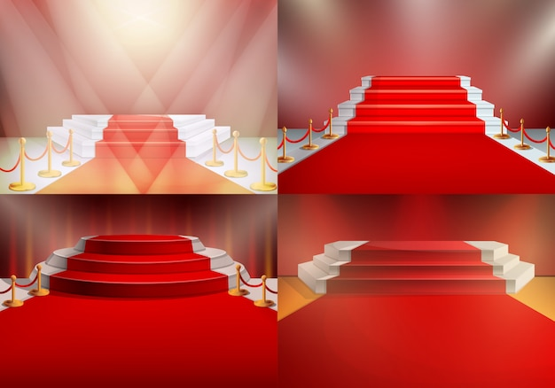 Ensemble De Tapis Rouges Sous L'éclairage Lors De La Cérémonie De Remise Des Prix, Illustration Vectorielle Vecteur Premium