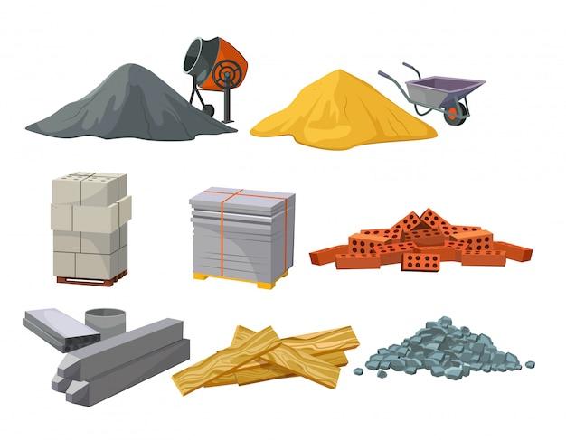 Ensemble de tas de matériaux de construction Vecteur gratuit
