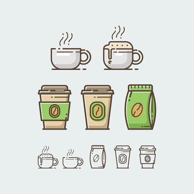 Ensemble de tasse à café Vecteur Premium