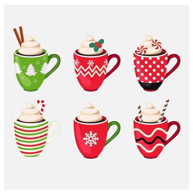 Ensemble de tasse de noël vacances d'hiver avec boisson chaude Vecteur Premium