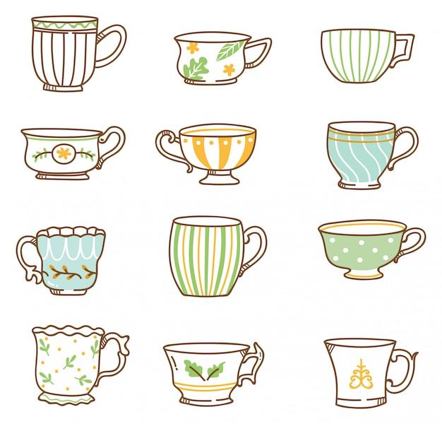 Ensemble de tasses à thé vintage dessinés à la main Vecteur Premium
